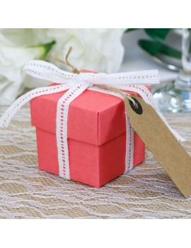 Coral Silk Square Favour Box