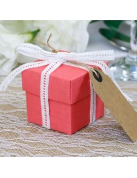 Coral Silk Square Favour Box